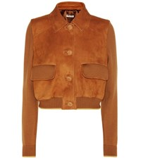 Miu Miu Wool And Leather Jacket Brown