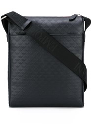 Emporio Armani Logo Embossed Messenger Bag Black