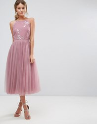 Little Mistress Beaded Mid Dress With Tulle Skirt Blush Pink