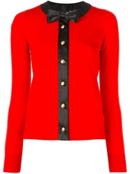 Love Moschino Bow Tie Detail Cardigan Red