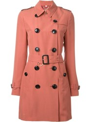 Burberry London Double Breasted Trench Coat Pink And Purple