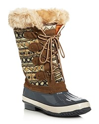 Khombu Andie Quilted Cold Weather Boots Brown Gray