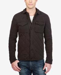 Lucky Brand Men's Quilted Western Shirt Jacket Jet Black