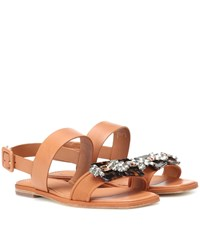 Tory Burch Delaney Leather Sandals Brown