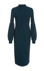 Lela Rose Full Sleeve Fitted Knit Dress Blue
