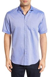 Men's Thomas Dean Trim Fit Short Sleeve Dobby Sport Shirt