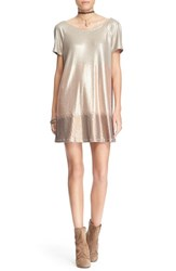 Women's Free People 'Drenched In Sequins' Embellished Dress Rose Gold