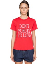 Alberta Ferretti 'Don't Forget To Love' Cotton T Shirt Red
