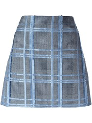 Versace Jacquard Fil Coupe Skirt Blue