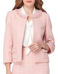 Tahari By Arthur S. Levine Petite Fringe And Pearl Embroidered Open Tweed Jacket Palm Pink