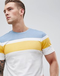 Produkt T Shirt With Block Stripes Pale Marigold White