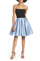 Blondie Nites Strapless Satin Skirt Fit And Flare Dress Black Blue