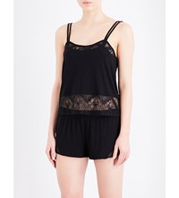 Skin Lace Insert Jersey Camisole Black