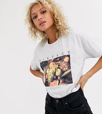 Daisy Street Relaxed T Shirt With Vintage Fruit Print Gray