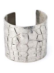 Yves Saint Laurent Vintage Crocodile Embossed Cuff Metallic