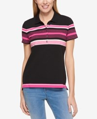Tommy Hilfiger Short Sleeve Striped Polo Only At Macy's Black Pink Stripes