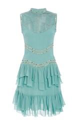 Elie Saab Sleeveless Dress With Ruffle Skirt Blue