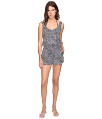 Stella Mccartney Mixed Animal And Elastic All In One Romper Cover Up Midnight Blue Leopard Giraffe Print Women's Jumpsuit And Rompers One Piece Gray