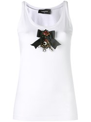 Dsquared2 Bow Embroidered Tank Top Women Cotton Xs White