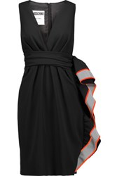Moschino Metallic And Neon Ruffled Crepe Dress Black