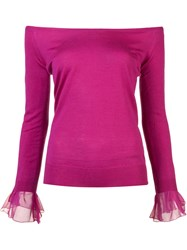 Oscar De La Renta Off Shoulder Jumper Pink Purple