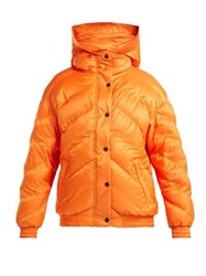 Perfect Moment Chevron Quilted Bomber Jacket Orange Navy