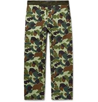 Junya Watanabe Cropped Corduroy Trimmed Camouflage Print Cotton Twill Trousers Green