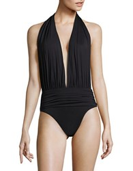 Vince Camuto Fiji Solids Halterneck One Piece Swimsuit Black