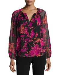 Diane Von Furstenberg Petite Marnie Floral Daze Sheer Sleeve Silk Blouse Black Multicolor Multi Colors