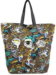 Kenzo 'Flying Tiger And Eyes' Tote Multicolour