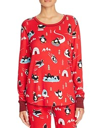 Pj Salvage Penguin Long Sleeve Thermal Pajama Top Red