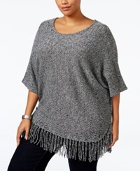 Ny Collection Plus Size Knit Fringe Poncho Sweater Black Marl