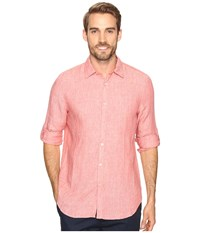 Perry Ellis Solid Rolled Sleeve Linen Shirt Mineral Red Men's Clothing