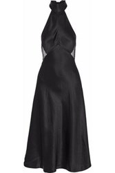 Cami Nyc Holly Swiss Dot Tulle Paneled Silk Charmeuse Halterneck Dress Black