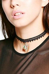 Boohoo Christmas Lace Angel Pendant Choker Black