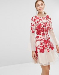 Frock And Frill Embroidered Beaded Skater Dress With Fluted Sleeve Nude Red Pink