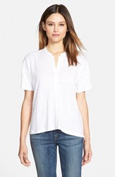 Eileen Fisher Women's Mandarin Collar Organic Linen Knit Shirt White