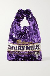 Anya Hindmarch Embellished Satin Tote Purple