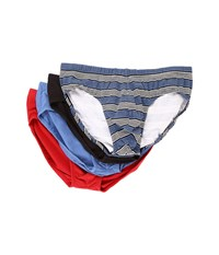 2Xist Stretch 4 Pack Bikini Briefs Multi Stripe Black Black Blue Scotts Red Men's Underwear