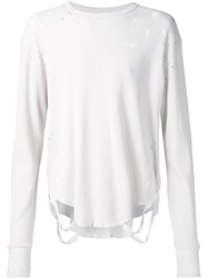 Nsf Distressed Longsleeved T Shirt White