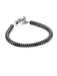 King Baby Studio Hematite Button Beads And Sterling Silver Bracelet Silver Black