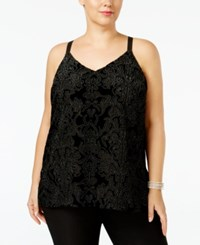 Inc International Concepts Plus Size Flocked Velvet Tank Top Only At Macy's Deep Black