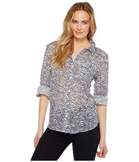 Dylan By True Grit Gauzy Cotton Zebra Vintage Roll Sleeve Shirt Carbon Women's Clothing Gray