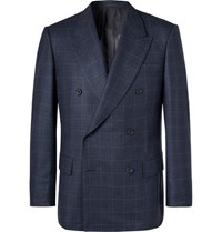 Kingsman Navy Double Breasted Prince Of Wales Checked Wool Suit Jacket
