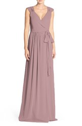 Ceremony By Joanna August Women's 'Newbury' Gathered Sleeve Chiffon Wrap Gown Bohemian Rhapsody