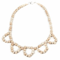 Hring Eftir Hring Clown's Collar Necklace Beach Wood Nude Neutrals White