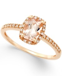 Macy's Morganite 3 4 Ct. T.W. And Diamond 1 10 Ct. T.W. Ring In 14K Rose Gold