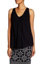 Max Studio V Neck Geometric A Line Tank Black