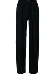 Just Female Elastic Waistband Ribbed Trousers Black