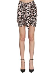 Alexandre Vauthier Printed Stretch Satin Draped Mini Skirt Multicolor